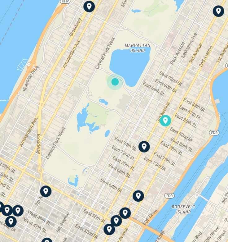 luggage storage places Central Park NYC: map
