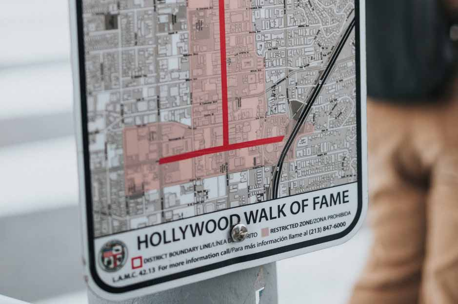Hollywood walk of fame: the map